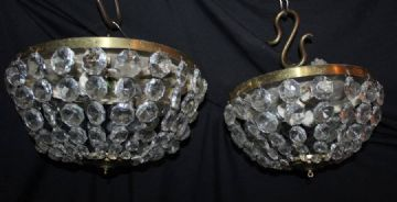 TWO VINTAGE FRENCH CEILING LIGHTS, CIRCULAR GLASS BAG PLAFONNIERS  Ref: ANV20